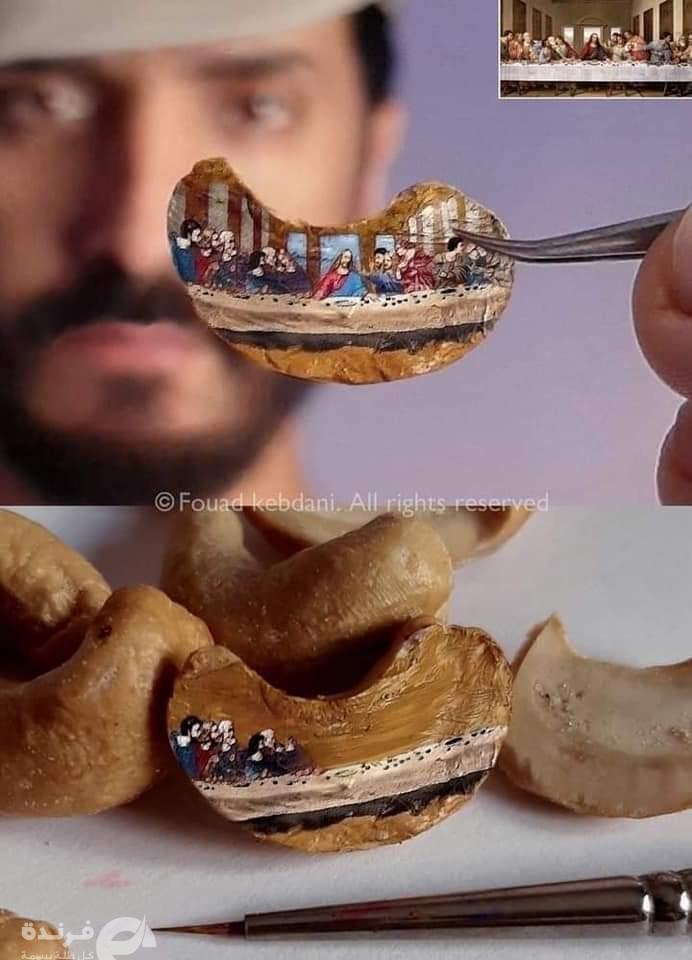 فؤاد كبداني مغربي يرسم بالمليمترات  الكعبة على حبة أرز !! (صور)